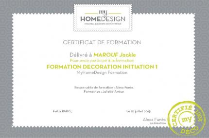 Training certificates Interior Design Level 1