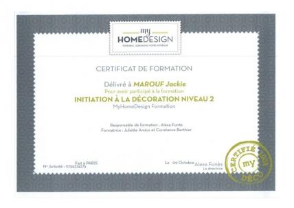 Training certificates Interior Design Level 2